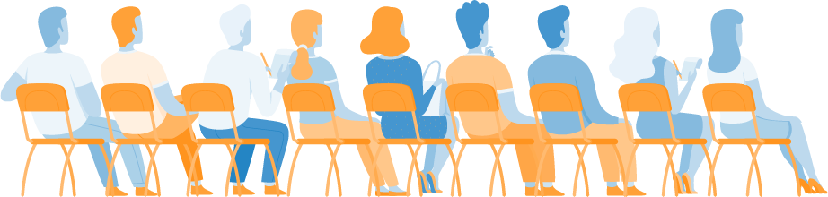 illustration of people sitting on chairs